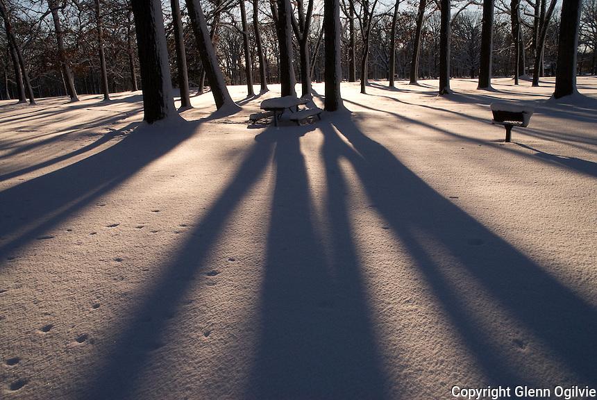 Snow and shadows at Canatara Park, Sarnia