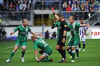 VOETBAL: HEERENVEEN: 15-09-2013, Abe Lenstra Stadion, SC Heerenveen-FC Groningen, Timo Letschert (rode kaart) maakte overtreding op Luciano Slagveer, ©foto Martin de Jong