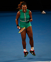 17th January 2019, Melbourne Park, Melbourne, Australia; Australian Open Tennis, day 4; Serena Williams of USA reacts in the match against Eugenie Bouchard of Canada