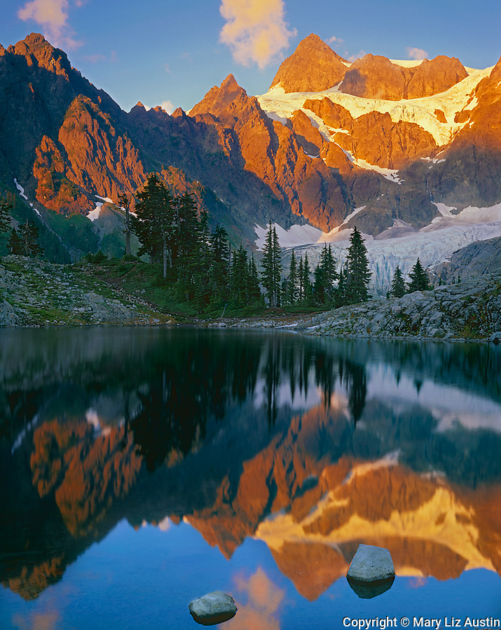 North Cascades National Park, WA<br /> Evening light on Mount Shuksan with a mirror reflection in Lake Ann