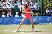 June 16th 2017, Nottingham, England;WTA Aegon Nottingham Open Tennis Tournament day 7;  Johanna Konta of Great Britain putting all her energy into a two handed backhand; Konta won 6-3, 7-5 to reach the semi finals