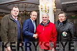 Fianna Fail leader Micheal Martin is given a warm reception from Noel O'Chea, Sean O'Shea  Caherdaniel with Eddie Moriarty Caherciveen at  the Killarney Avenue Hotel on Tuesday