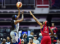 Washington, DC - May 27, 2018: Minnesota Lynx guard Seimone Augustus (33) attempts a shoot over Washington Mystics guard Ariel Atkins (7) during game between the Mystics and Lynx at the Capital One Arena in Washington, DC. (Photo by Phil Peters/Media Images International)