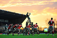Jamie Gibson of Leicester Tigers rises high to win lineout ball in the second half. Aviva Premiership match, between London Welsh and Leicester Tigers on November 23, 2014 at the Kassam Stadium in Oxford, England. Photo by: Patrick Khachfe / JMP