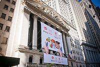 """The New York Stock Exchange is decorated for the first day of trading of Yum China Holdings after its separation from Yum Brands. Yum China has exclusive rights to KFC, Pizza Hut and Taco bell in China. The company will trade under the symbol """"YUMC"""".  (© Richard B. Levine)"""