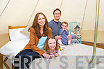 Linda and Mike O'Sullivan with their children Esme and Fiadh from Grove Lane Glamping in one of there glamorous tents at their new site in Killarney
