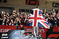 3rd November 2019; Circuit of the Americas, Austin, Texas, United States of America; Formula 1 United States Grand Prix, race day; Mercedes AMG Petronas Motorsport, Lewis Hamilton comes in second in parc ferme - Editorial Use