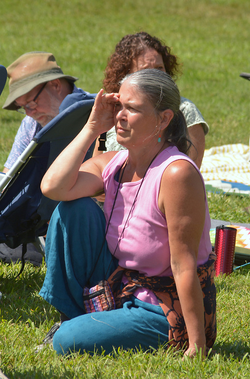"Arm-of-the-Sea Theater's Co-Founder and Artistic Designer, Marlena Marallo, seen watching the group's performance of ""DIRT: THE SECRET LIFE OF SOIL,"" at the Fifth Annual SUMMER HOOT Festival, held at the Ashokan Center, Olivebridge, NY, on Sunday, August 27, 2017. Photo by Jim Peppler. Copyright/Jim Peppler-2017."