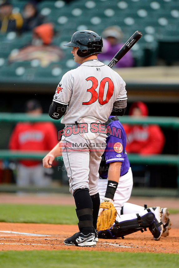 Indianapolis Indians outfielder Brett Carroll #30 during a game against the Louisville Bats on April 19, 2013 at Louisville Slugger Field in Louisville, Kentucky.  Indianapolis defeated Louisville 4-1.  (Mike Janes/Four Seam Images)