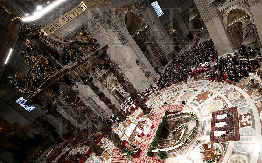 Monsignor Waldemar Stanislaw Sommertag, Monsignor Alfred Xuereb e Monsignor Jose Avelino Bettencourt sono sdraiati di fronte all'Altare durante la loro Ordinazione Episcopale nella Basilica di San Pietro in Vaticano, 19 marzo 2018.<br /> Monsignor Waldemar Stanislaw Sommertag, Monsignor Alfred Xuereb and Monsignor Jose Avelino Bettencourt lies in front of the Altar during their Episcopal Ordination conducted by Pope Francis at Saint Peter's Basilica at the Vatican on March 19, 2018. <br /> UPDATE IMAGES PRESS/Isabella Bonotto<br /> <br /> STRICTLY ONLY FOR EDITORIAL USE