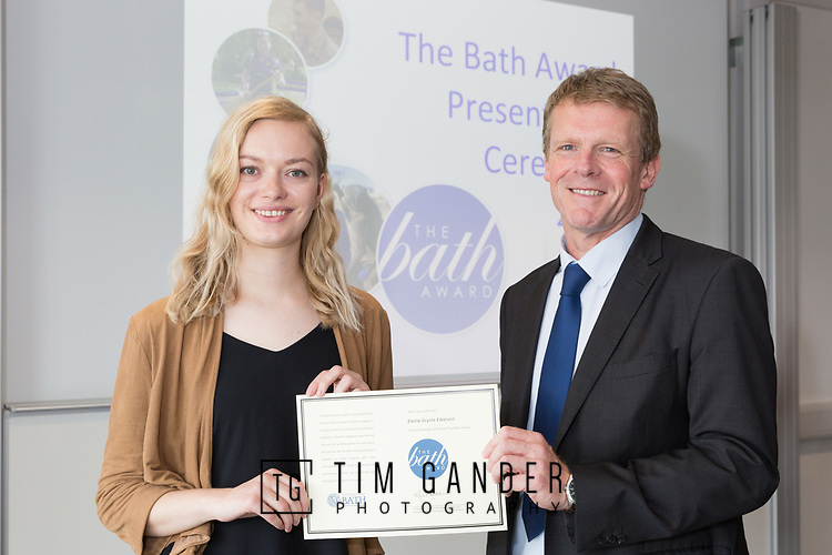 29289 Bath Award 01 June 2017<br /> <br /> The Bath Award 2017 is presented by Pro-Vice-Chancellor (Learning and Teaching) Professor Peter Lambert.<br /> <br /> Professor Lambert presents a certificate to Emilie Grytte Eikeland.<br /> <br /> Client: Samantha Chaffey, Bath Award Manager.