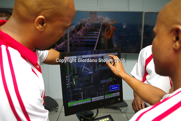 DURBAN - 2 September 2016 - Officials from South Africa's Transnet National Port Authority operate a R29 million dredging simulator that was unveiled. The simulator will be used at a Dredging School that is set to open in Durban in January 2017. The simulator was installed by Dutch company Royal IHC. Picture: Allied Picture Press/APP