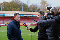 Morecambe manager Derek Adams has a chat with sky sports ahead of Crawley Town vs Morecambe, Sky Bet EFL League 2 Football at Broadfield Stadium on 16th November 2019