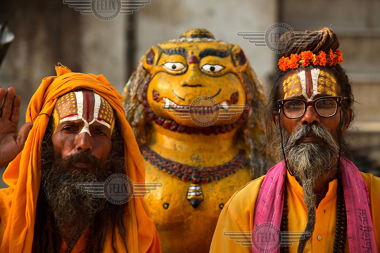Two bearded Sadhus (holy men) in Kathmandu's Durbar Square.