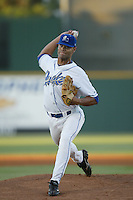 Dominic Woody of the Rancho Cucamonga Quakes pitches a 2004 season California League game at The Epicenter in Rancho Cucamonga, California. (Larry Goren/Four Seam Images)