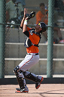 San Francisco Giants catcher Rene Melendez (9) during an Instructional League game against the Oakland Athletics on October 15, 2014 at Papago Park Baseball Complex in Phoenix, Arizona.  (Mike Janes/Four Seam Images)