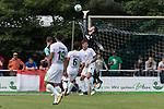 29.07.2017, Fritz Detmar Stadion, Lohne, GER, FSP SV Werder Bremen (GER) vs WestHam United (ENG), <br /> <br /> im Bild<br /> <br /> Jiri Pavlenka (Werder Bremen #1)<br /> Thomas Delaney (Werder Bremen #6)<br /> Robert Bauer (Werder Bremen #4)<br /> KOpfball Marko Arnautovic (WestHam)<br /> Foto &copy; nordphoto / Kokenge