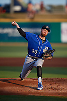 Biloxi Shuckers starting pitcher Braden Webb (30) delivers a pitch during a Southern League game agains the Pensacola Blue Wahoos on May 3, 2019 at Admiral Fetterman Field in Pensacola, Florida.  (Mike Janes/Four Seam Images)