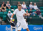 June 14th 2017, Nottingham, England; ATP Aegon Nottingham Open Tennis Tournament day 5;  Backhand volley from Lloyd Glasspool of Great Britain