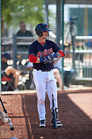 AZL Indians Blue Michael Amditis (8) on deck during an Arizona League game against the AZL Indians Red on July 7, 2019 at the Cleveland Indians Spring Training Complex in Goodyear, Arizona. The AZL Indians Blue defeated the AZL Indians Red 5-4. (Zachary Lucy/Four Seam Images)