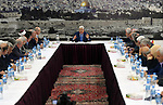 "Palestinian President Mahmoud Abbas speaks during a meeting of Palestinian leadership in the West Bank city of Ramallah on May 14, 2018. Abbas condemned Israeli ""massacres"" along the Gaza Strip border after Israeli forces killed 52 Palestinians during clashes and protests coinciding with the opening of the US embassy in Jerusalem. Abbas, who declared three days of mourning, also said the US is no longer a mediator in the Middle East,"" adding the new embassy is tantamount to a new American settler outpost in Jerusalem. Photo by Thaer Ganaim"