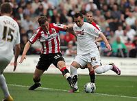 Pictured L-R: Shane Lowry of Sheffield United against Stephen Dobbie of Swansea. Saturday 07 May 2011<br /> Re: Swansea City FC v Sheffield United, npower Championship at the Liberty Stadium, Swansea, south Wales.