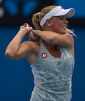 Caroline Wozniacki (DEN) (4) against Julia Georges (GER) in the Second Round of the Womens Singles. Wozniacki beat Georges 6-3 6-1..International Tennis - Australian Open Tennis - Thur 21 Jan 2010 - Melbourne Park - Melbourne - Australia ..© Frey - AMN Images, 1st Floor, Barry House, 20-22 Worple Road, London, SW19 4DH.Tel - +44 20 8947 0100.mfrey@advantagemedianet.com