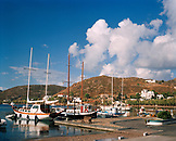 GREECE, Patmos, Grikos, Dodecanese Island, fishing fishing and sailing boats in the Grikos Marina, Agean Sea