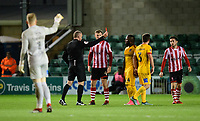 Northampton Town's Junior Morias is shown a red card by referee Graham Salisbury<br /> <br /> Photographer Chris Vaughan/CameraSport<br /> <br /> Emirates FA Cup First Round - Lincoln City v Northampton Town - Saturday 10th November 2018 - Sincil Bank - Lincoln<br />  <br /> World Copyright &copy; 2018 CameraSport. All rights reserved. 43 Linden Ave. Countesthorpe. Leicester. England. LE8 5PG - Tel: +44 (0) 116 277 4147 - admin@camerasport.com - www.camerasport.com