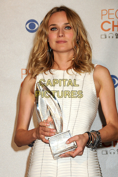DIANE KRUGER .Pressroom at the 36th Annual People's Choice Awards held at the Nokia Theatre LA Live, Los Angeles, California, USA..January 6th, 2009.press room half length white dress  sleeveless silver studded studs bracelets award trophy .CAP/ADM/BP.©Byron Purvis/AdMedia/Capital Pictures.