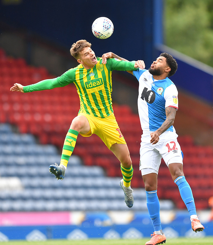 Blackburn Rovers' Dominic Samuel battles with West Bromwich Albion's Conor Townsend<br /> <br /> Photographer Dave Howarth/CameraSport<br /> <br /> The EFL Sky Bet Championship - Blackburn Rovers v West Bromwich Albion - Saturday 11th July 2020 - Ewood Park - Blackburn <br /> <br /> World Copyright © 2020 CameraSport. All rights reserved. 43 Linden Ave. Countesthorpe. Leicester. England. LE8 5PG - Tel: +44 (0) 116 277 4147 - admin@camerasport.com - www.camerasport.com