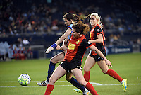Kansas City, Kansas - Saturday April 16, 2016: FC Kansas City midfielder Erika Tymrak (15) works towards goal against Western New York Flash midfielder Elizabeth Eddy (4) in the second half at Children's Mercy Park. Western New York won 1-0.