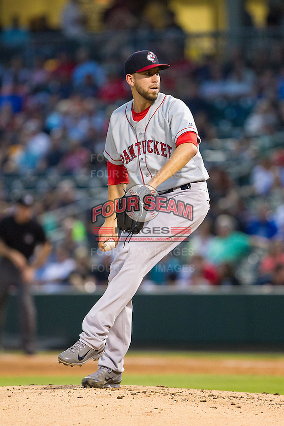 Pawtucket Red Sox starting pitcher Matt Barnes (34) in action against the Charlotte Knights at BB&T Ballpark on August 9, 2014 in Charlotte, North Carolina.  The Red Sox defeated the Knights  5-2.  (Brian Westerholt/Four Seam Images)