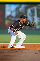 Charlotte Knights second baseman Micah Johnson (3) waits for a throw between innings of the game against the Scranton/Wilkes-Barre RailRiders at BB&T Ballpark on July 17, 2014 in Charlotte, North Carolina.  The Knights defeated the RailRiders 9-5.  (Brian Westerholt/Four Seam Images)