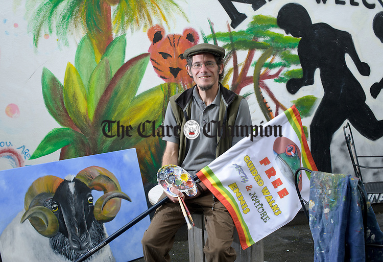 Ennis based artist Boris Thummel of Benoni's Art Studio, Chapel Lane, who offers free guided art and nature walks in the Ennis area. Photograph by John Kelly.