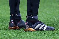 Mesut Ozil of Arsenal personalised Adidas predator football boots ahead the Premier League match between West Ham United and Arsenal at the Olympic Park, London, England on 13 December 2017. Photo by Andy Rowland.