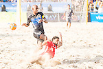 MOREIRA Ozu of Japan fights for the ball with AL-ORAIMI Khalid Khamis Mohammed of Oman during the Beach Soccer Men's Team Gold Medal Match between Japan vs Oman on Day Nine of the 5th Asian Beach Games 2016 at Bien Dong Park on 02 October 2016, in Danang, Vietnam. Photo by Marcio Machado / Power Sport Images
