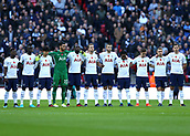 5th November 2017, Wembley Stadium, London England; EPL Premier League football, Tottenham Hotspur versus Crystal Palace; Tottenham Hotspur starting eleven players line up to stand for a minutes silence at Wembley Stadium for those who have died in wars