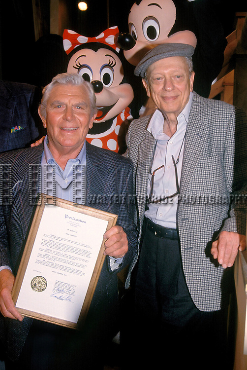 Andy Griffith and Don Knotts pictured in 1992