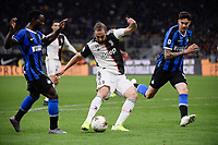 Gonzalo Higuain of Juventus scores the goal of 1-2 for his side <br /> Milano 6-10-2019 Stadio Giuseppe Meazza <br /> Football Serie A 2019/2020 <br /> FC Internazionale - Juventus FC <br /> Photo Federico Tardito / Insidefoto