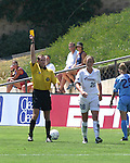 Abby Wambach (28) walks away as referee Terry Vaughn issues her a yellow card at Torero Stadium in San Diego, CA on 8/24/03 during the WUSA's Founders Cup III between the Atlanta Beat and Washington Freedom. The Freedom won 2-1 in overtime.