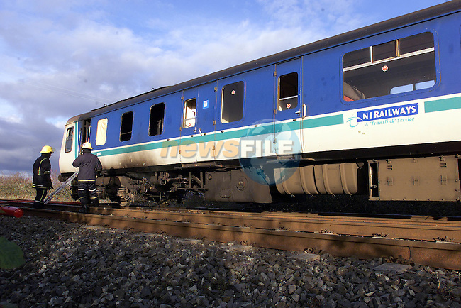 The remains of the Burned out carrage of the NI train on the Main Dublin Belfast Line.Pic Fran Caffrey Newsfile.©Newsfile Ltd..Copy Elain Keogh