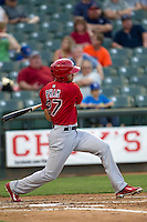 Memphis Redbirds outfielder Thomas Pham #27 follows through on his swing during the Pacific Coast League baseball game against the Round Rock Express on April 24, 2014 at the Dell Diamond in Round Rock, Texas. The Express defeated the Redbirds 6-2. (Andrew Woolley/Four Seam Images)