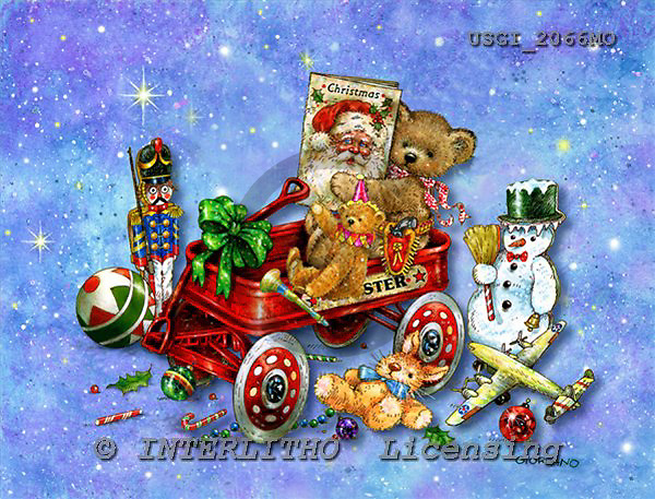 GIORDANO, CHRISTMAS ANIMALS, WEIHNACHTEN TIERE, NAVIDAD ANIMALES, Teddies, paintings+++++,USGI2066MO,#XA#