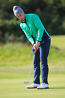 Alex Gleeson from Ireland on the 11th green after Round 1 Foursomes of the Men's Home Internationals 2018 at Conwy Golf Club, Conwy, Wales on Wednesday 12th September 2018.<br /> Picture: Thos Caffrey / Golffile<br /> <br /> All photo usage must carry mandatory copyright credit (© Golffile | Thos Caffrey)