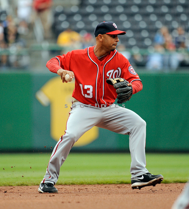 ALEX CORA, of the Washington Nationals, in action during the Nationals game against the Pittsburgh Pirates, on April 24, 2011 at PNC Park in Pittsburgh, Pennsylvania.  The Nationals beat the Pirates 6-3.