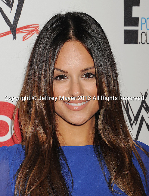 BEVERLY HILLS, CA- AUGUST 15: Singer Pia Toscano attends WWE & E! Entertainment's 'SuperStars For Hope' at the Beverly Hills Hotel on August 15, 2013 in Beverly Hills, California.