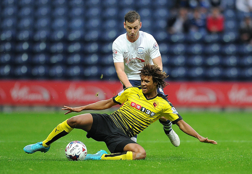 Preston North End's Marnick Vermijl battles with Watford's Juan Carlos Paredes<br /> <br /> Photographer Dave Howarth/CameraSport<br /> <br /> Football - Capital One Cup Second Round - Preston North End v Watford - Tuesday 25 August 2015 - Deepdale - Preston<br />  <br /> &copy; CameraSport - 43 Linden Ave. Countesthorpe. Leicester. England. LE8 5PG - Tel: +44 (0) 116 277 4147 - admin@camerasport.com - www.camerasport.com