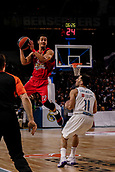 9th February 2018, Wiznik Centre, Madrid, Spain; Euroleague Basketball, Real Madrid versus Olympiacos Piraeus; Brian Roberts (OLYMPIACOS BC) catches he pass in front of Facundo Campazzo (Real Madrid Baloncesto)