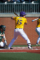 Bryson Worrell (35) of the East Carolina Pirates at bat against the Charlotte 49ers at Hayes Stadium on March 8, 2020 in Charlotte, North Carolina. The Pirates defeated the 49ers 4-1. (Brian Westerholt/Four Seam Images)